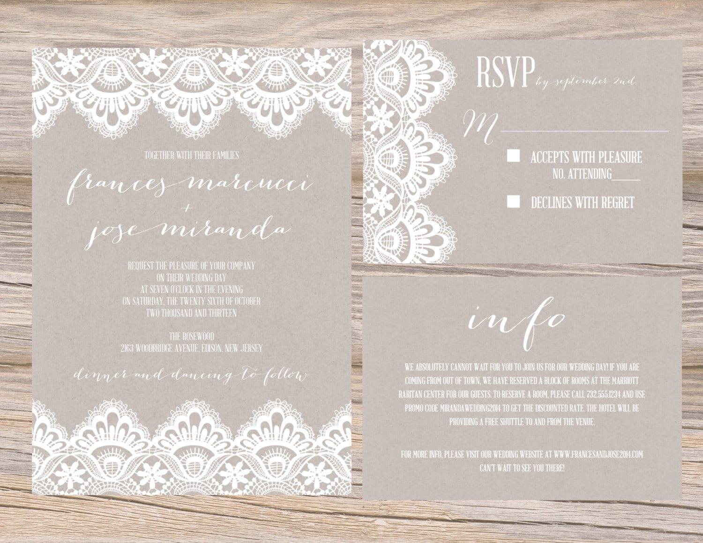 Diy Kraft Paper Wedding Invitations: Rustic Kraft Paper Vintage White Lace Wedding Invitation