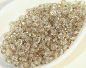 4mm Bicone Beads, Czech Beige Faceted Beads, Machine Cut Crystal (50) Gray AB last