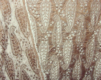 "Brown and silver woven paisley polyester crinkled fabric - 58""- BTY"