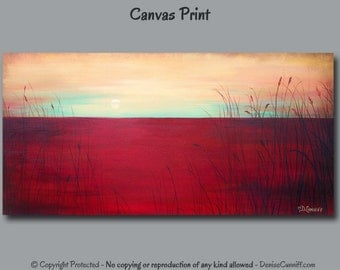 Large wall art, Panoramic art, sunset canvas print, Teal, red decor, Contemporary artwork, Shabby Chic home decor, Living room decor Bedroom