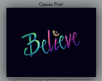 Believe word art, Office decor, Inspirational canvas wall art, Yoga artwork, Girls bedroom decor, Spiritual, Positive affirmation print