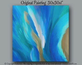Abstract painting, Large wall art, Teal home decor, Canvas artwork, Aqua, Turquoise & brown wall decor, Office decor, Square canvas art