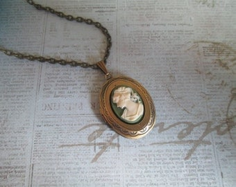 "Vintage Locket Collection: Olive Green and Cream Cameo on Antiqued Brass Locket. 18"" Necklace; Antique Bronze; Whimsical; Victorian"