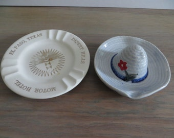 Vintage 60s 70s ceramic china ashtrays Mexican sombrero hat and Desert Hills Motor Hotel El Paso Texas  22K trim hotel motel collectibles