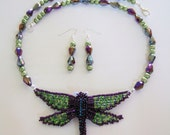 Dragonfly Necklace Fantastic Handmade Wearable Art Purple & Green Dragonfly Jewelry Exquisite Unique Necklaces Gifts for Her Valentines Day