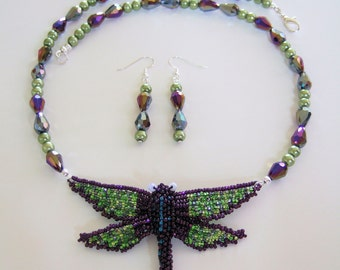Dragonfly Necklace Gorgeous Handmade Jewelry Wearable Art Purple & Green Dragonfly Jewelry Exquisite Unique Necklaces Mother's Day Gifts