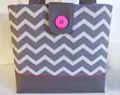 Classic Large Tote Bag--Book Bag--Diaper Bag--Purse-Grey Chevron With Hot Pink Fuschia Accents