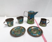 French Antique 6 pieces Tin Handpainted Doll's Tea Party Set 1800s (w776)