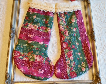 Quilted Floral Victorian  Red and Green Christmas Stocking Set of Two