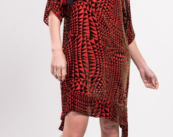 Silk chiffon with velvet print tee style dress