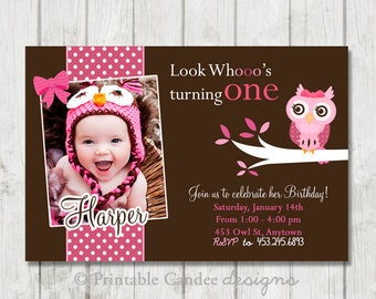 Pink and Brown Owl Birthday Invitation - DIY Custom Printable