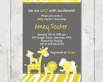 Yellow and Grey Safari Baby Shower Invitation - DIY Custom Printable