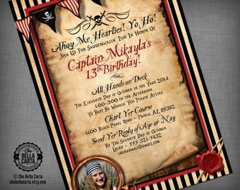 Pirate with PHOTO Customized Printable Invitation