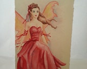 The Red Fairy - Water Color Painting