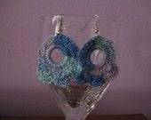 Blue and Purple Crochet Thread Earring Crochet  Pattern PDF file