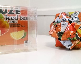 Fuze Iced Tea Can Origami Ornament.  Upcycled Recycled Repurposed Art