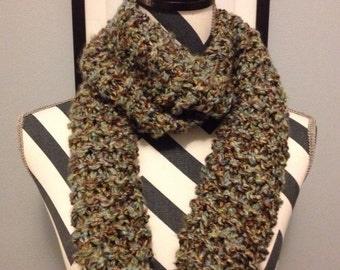 "Eternity-Style ""Earth"" Hand Knit Scarf//green//brown//blue"