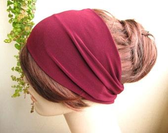 Rich Maroon Purple Womens Turban Head Wrap, Womens Headband Yoga Headband, Turband, Wide Headband, Fashion Hair Accessories, Gift for Her