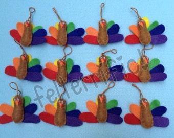 1 Dozen Handmade Felt Mini Turkey Ornaments