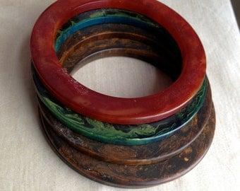 Set of 5 Marble Bakalite Bangles / Vintage Marbalized Bakalite Bangles