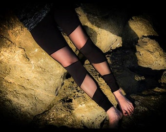Mesh leggings, Black Asymmetric Sheer leggings