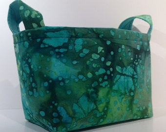 Fabric Storage Basket Bin Organizer Storage Container - Green, Turquoise, Chartreuse Batik Print with Solid Turquoise Green Interior