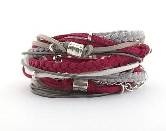 Marsala Wrap Bracelet, Maroon Gray Silver Bracelet, Boho bracelet, double wrap, boho chic