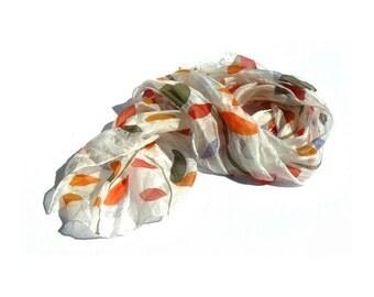 Autumn fall silk scarf Colorful leaves boho silk scarf