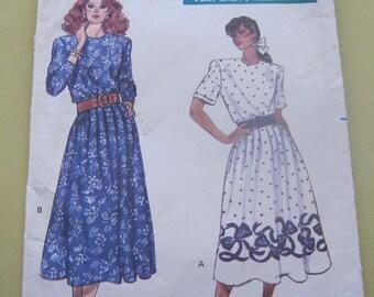Butterick 6100 Pattern 1980's Dress Long and Short Size 8,10,12 Vintage