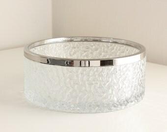 Davidson Brama Luna Crystal Glass Bowl with Silver Rim, Handmade in England, circa 1970s
