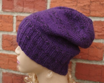 Purple and Black , Hand Knit, Slouchy, Wool Hat for Men or Women