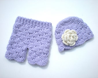 PATTERN:  Shorties Set, baby girl flower hat & pants, Easy Crochet PDF, Newborn Shorts, Beanie, InStanT DowNLoaD, Permission to Sell