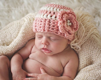 Newborn baby girl hat, baby girl hat, newborn girl hat, newborn girl photo prop, baby girl clothes, girl coming home outfit, pink, flower