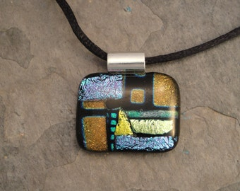 Fused Dichroic Glass Multi-Colored Pendant - BHS022834