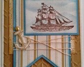 Hand-Stamped, 3-Dimensional, Layered Nautical Card