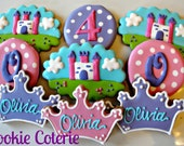 Princess or Prince Cookie Assortment Castle Crown Tiara Monogram Cookies Birthday Favors One Dozen