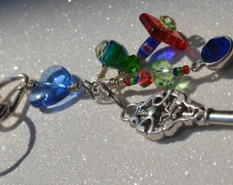 Colorful Beaded Keychain with Key Charm