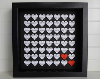 Personalised Wedding Anniversary Gift / Customise with any wording / Wedding Vows, First Dance Lyrics, 1 Year Paper Anniversary