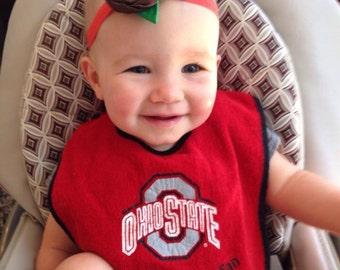 The original Ohio State Buckeyes inspired satin rosette buckeye headband
