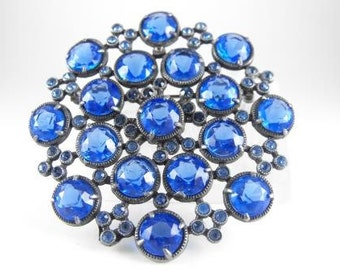 Sapphire Glass Brooch Deepest Blue Hue Rhinestones Signed EMP Open Back Pot Metal Setting
