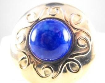 Vintage Scarf Clip Lapis Blue Glass Center Gold Tone Metals 1960s Beauty