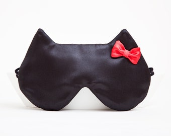 Satin Sleep Mask Luxury Black Sleep Mask Cat Red Bow Sexy Gift Ideas Black Cat Mask Vacation Accessories Bachelorette Party Favors