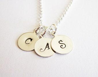 Three Initials Necklace, personalized necklace, custom Initials, Mom of 3 Kids, Mom Kid Grandma necklace, initial jewelry, personalized name