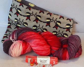 Red Ninja Gift Package on Max 80/20 SW Merino/nylon Gift Pack