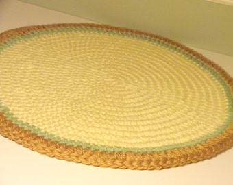 Pet Bed Mat in Lemon Yellow with a Light Sage Green Stripe and Gold Rim, Crochet Round Rag Rug Inspired Thick and Plush Area Floor Rug