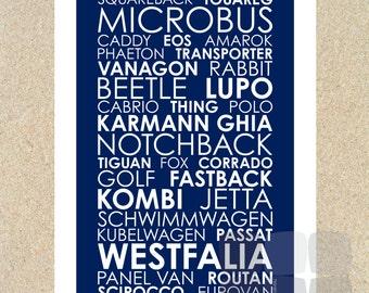 VW Models - Poster 12x18 - Modern Subway Style Typography Print