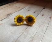 Sunflower Earrings, Christmas Gift Under 10