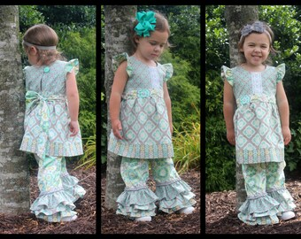 Chloe Flutter Top and Ruffle Pants//Hair Piece Included//Choose your Fabrics//Sizes 12m-8