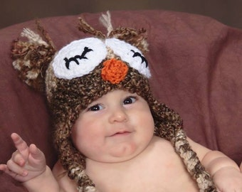 Crochet Fuzzy sleepy Owl Hat, photography prop, crochet hat 3 to 6 months ready to ship