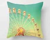 Pillow cover, spring decor, turquoise pillow,aqua pillow, ferris wheel, carousel, nursery decor, couch pillow, vintage pillow,kids art